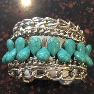 Jewelry - Beautiful silver and turquoise bracelet.